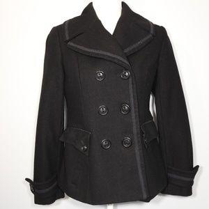 Guess Wool Blend Black Pea Coat - S